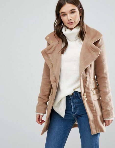 QED London Duffle Coat in tan - Coat by QED London, Heavyweight design, Fluffy texture,...