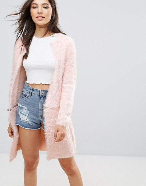 "QED London Fluffy Coatigan in pink - """"Coatigan by QED London, Super-soft-touch faux fur,..."