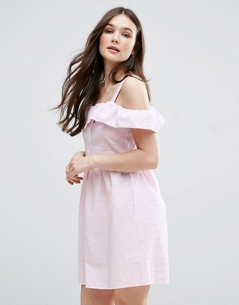 """QED London Frill Detail Skater Dress in pink - """"""""Evening dress by QED London, Textured woven fabric,..."""