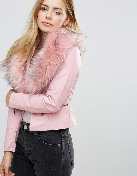 QED London Jacket With Faux Fur Collar in pink - Jacket by QED London, Faux-leather outer, Faux-fur...
