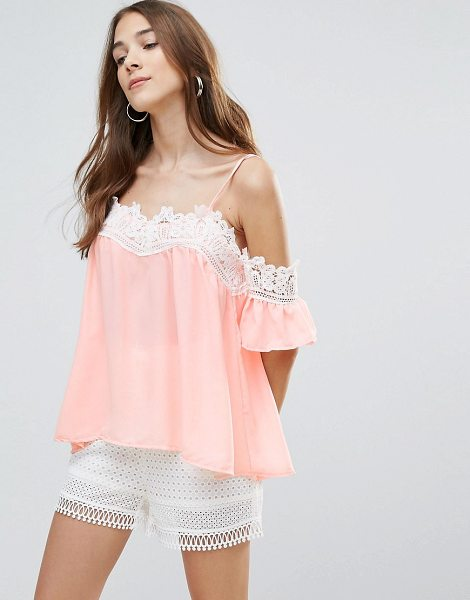 QED London Lace Neck Trim Top in pink