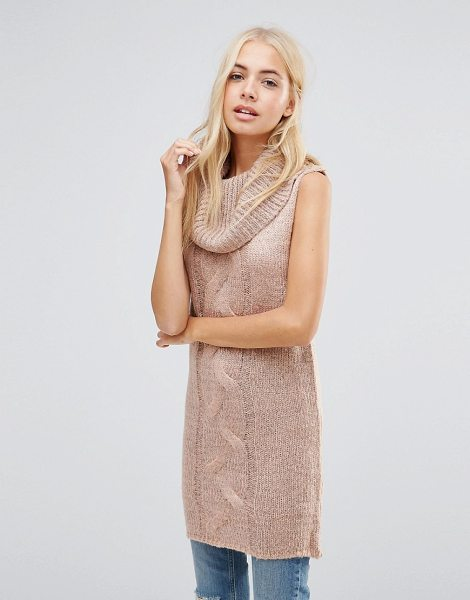 QED London Longline Roll Neck Sleeveless Sweater in pink - Sweater by QED London, Chunky cable knit, Roll neckline,...