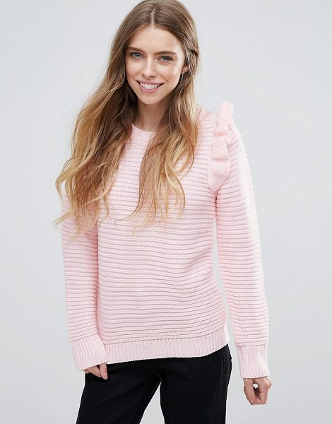 "QED London Ribbed Sweater With Shoulder Ruffle in pink - """"Sweater by QED London, Ribbed knit, Crew neck,..."