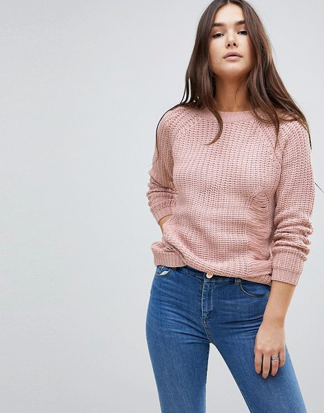 QED London knit sweater in rosa - Sweater by QED London, Crew neck, Raglan sleeves,...
