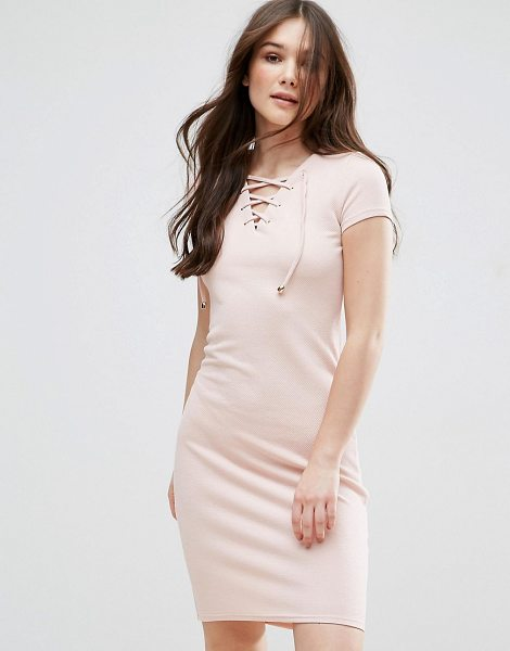 QED London Tie Up Front Dress in pink - Dress by QED London, Textured woven fabric, Contains...