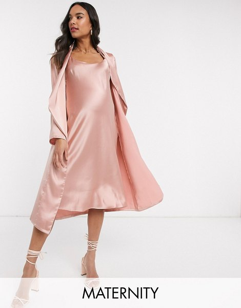 Queen Bee baby shower ruched cami midi dress and drape jacket set in pink in pink
