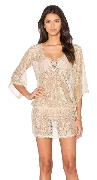 Queen & Pawn Ibiza metallic lace tunic cover up in metallic gold - Poly blend. Keyhole front with tie closure. Elasticized...