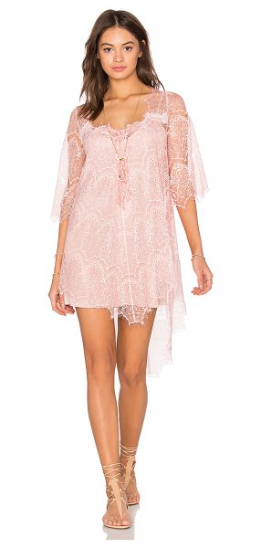 Queen & Pawn Salina Lace Tunic in pink - 100% poly. Hand wash cold. Fully lined. Delicate allover...