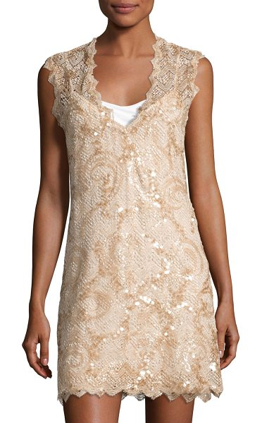 "Queen & Pawn Saria Sequined Lace Coverup Dress in beige - Queen & Pawn ""Saria"" coverup dress in sequined lace with..."