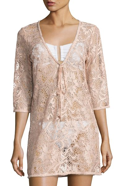 "Queen & Pawn Venus Sheer Lace Coverup Tunic in pink - Queen & Pawn ""Venus"" coverup dress/tunic in lace with a..."