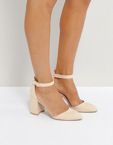 QUPID qupid block point high heels in nudemicro - Shoes by Qupid, Faux-suede upper, Ankle-strap fastening,...