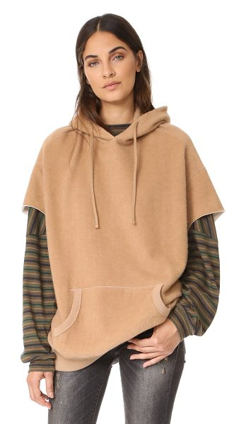R13 camel cut sleeve hoodie - Brushed camel hair lends a cozy feel to this oversized...