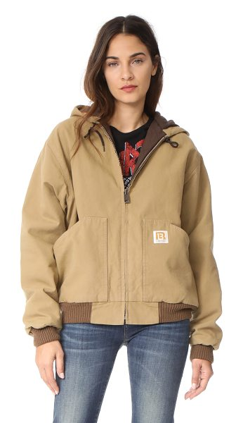 R13 duck jacket in tan olive - This utilitarian R13 jacket is composed of sturdy canvas...