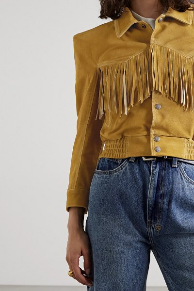 R13 fringed suede bomber jacket in light brown