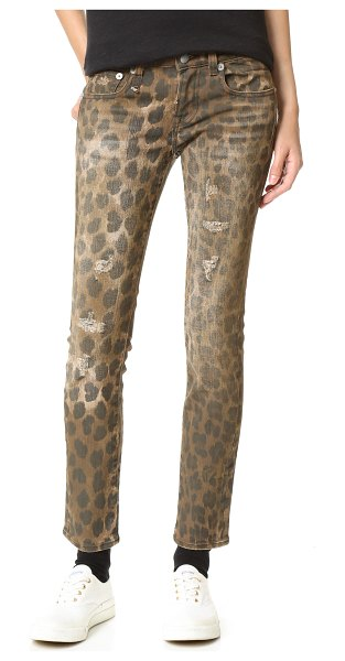 R13 kate skinny jeans in leopard - Fading and shredded holes lend a time-worn look to these...