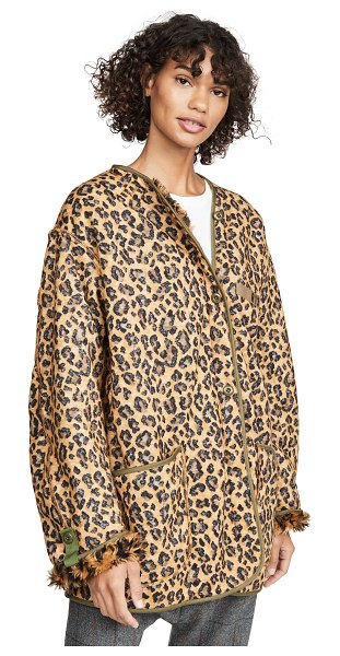 R13 military liner jacket in leopard