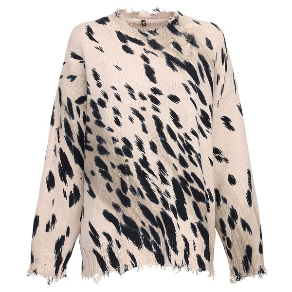 R13 Oversize cheetah print sweater in beige,black