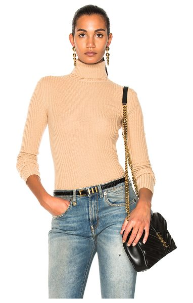 R13 Rib Turtleneck Sweater in neutrals - 100% cashmere.  Made in China.  Hand wash.  Rib knit fabric.