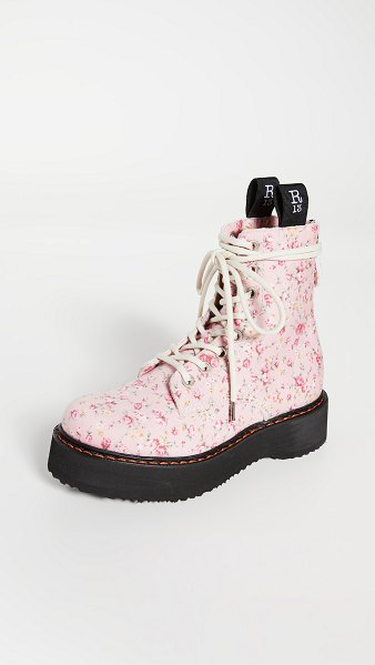 R13 single stack lace up boots in pink floral