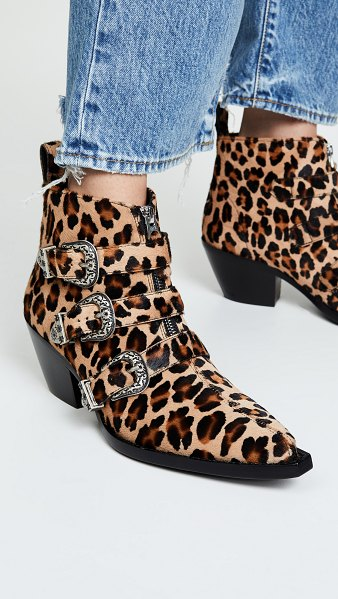 R13 three buckle ankle boots in leopard