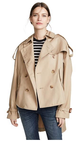 R13 tuck in trench coat in khaki - Fabric: Plain weave Button-down epaulets Button-down...