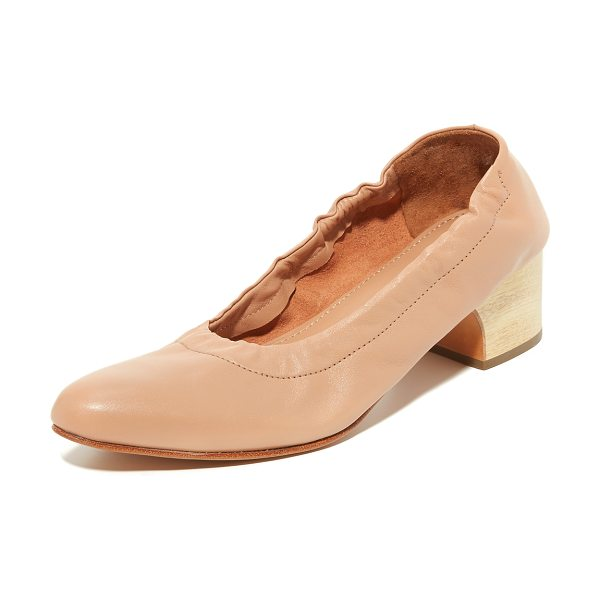 RACHEL COMEY calder heels in polished clay - Supple leather Rachel Comey pumps styled with inset...