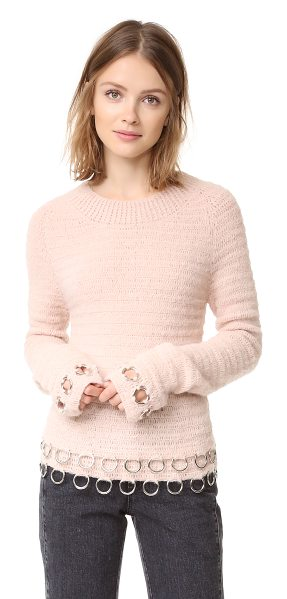 Rachel Comey circuit ring pullover in blush - Polished metal rings accent the hem and cuffs on this...