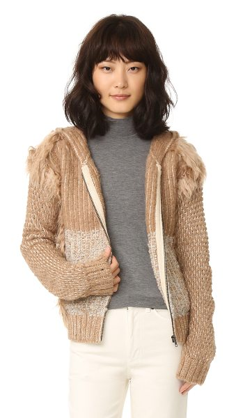 Rachel Comey exit knit jacket in camel - Tufts of fur detail the edges of this unique Rachel...