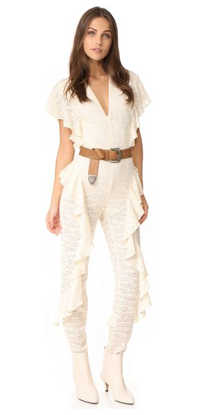 Rachel Comey meta jumpsuit in natural - A Rachel Comey jumpsuit in soft lace, embellished with...