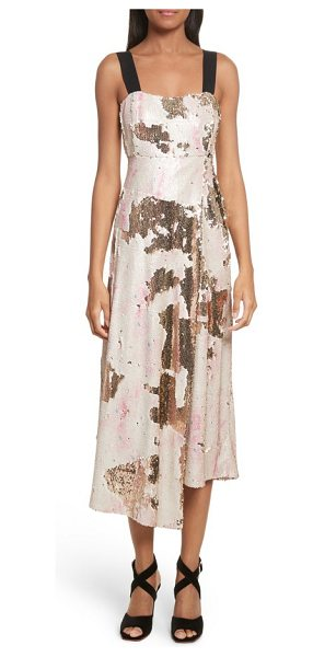 Rachel Comey slacken sequined dress in pink clouds - This faux-wrap midi dress goes glamorous with a coating...