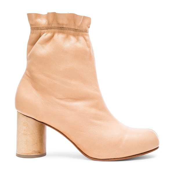 Rachel Comey Willa Booties in neutrals - Stretch leather upper with leather sole.  Made in China....