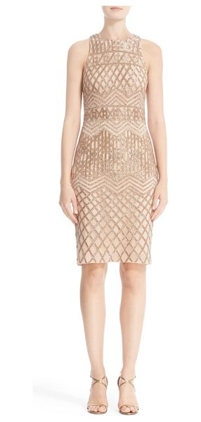 Rachel Gilbert beaded high neck sheath dress in champagne - Champagne-colored bugle beads trace a figure-flattering...