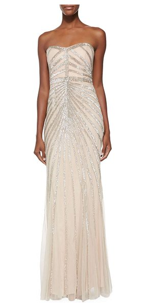 "RACHEL GILBERT Blair Strapless Beaded-Pattern Gown - Rachel Gilbert ""Blair"" gown with Art Deco beaded..."