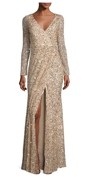 RACHEL GILBERT Long-Sleeve Sequined V-Neck Gown - Rachel Gilbert hand-sequined gown. V neckline. Long...