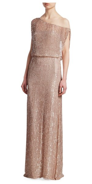 RACHEL GILBERT samarah sequin column gown in nude - This sweeping column gown features dazzling sequins that...