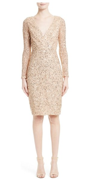 Rachel Gilbert sequin body-con dress in gold - Glittering sequins light up the surface of a slim,...