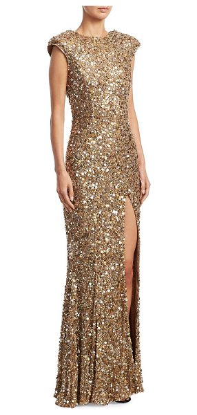 RACHEL GILBERT seraphina sequin gown - Hand sequin embellished gown with sultry front slit....