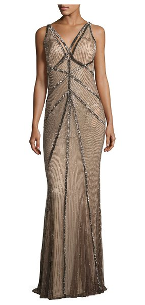 "RACHEL GILBERT Sleeveless Beaded V-Neck Gown - Rachel Gilbert hand-embellished tulle gown. Approx. 56""L..."
