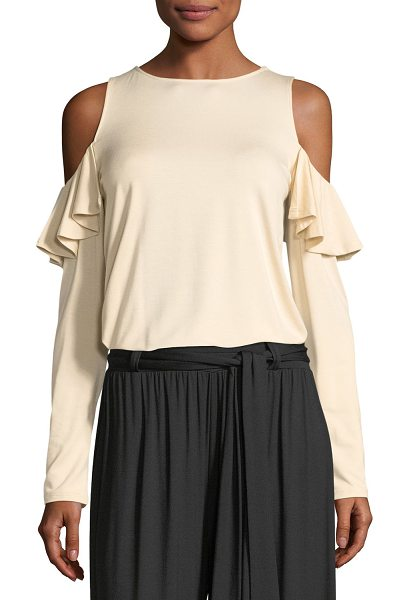 Rachel Pally Cascade Cold-Shoulder Top in cream - Rachel Pally classic cascade open shoulder top. Jewel...