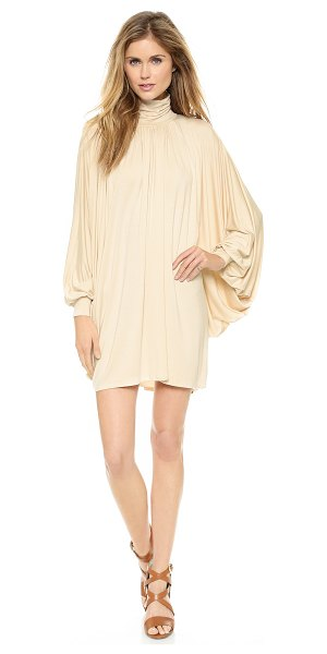 Rachel Pally Cass dress in cream - Exaggerated batwing sleeves and a ruched turtleneck...