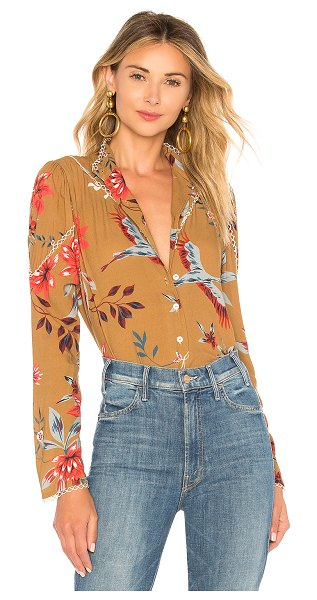 Rachel Pally Crepe Bonnie Top in tan - 100% rayon. Dry clean only. Button front closure. Lace...