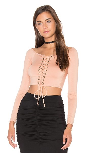 Rachel Pally Lace Up Cunningham Top in peach - 92% modal 8% spandex. Dry clean recommended. Lace-up...