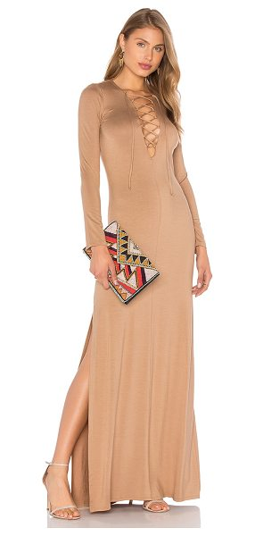 Rachel Pally Long Sleeve Jolene Dress in beige - 92% modal 8% spandex. Dry clean recommended. Lace-up...