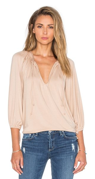 Rachel Pally Mei Top in tan - 92% modal 8% spandex. Dry clean recommended. Front tie...