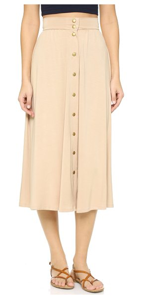 Rachel Pally Priya skirt in bamboo - Antiqued snaps line the front of this soft jersey Rachel...