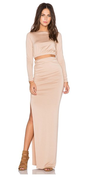 Rachel Pally X revolve ruched crop top & skirt in tan - 92% modal 8% spandex. Dry clean recommended. Skirt...