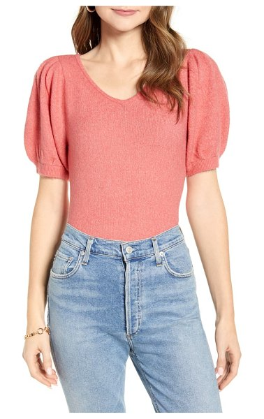 Rachel Parcell puff sleeve sweater in pink (nordstrom exclusive)