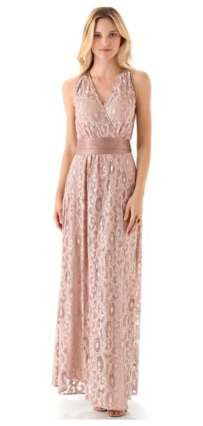Rachel Zoe Alice gown in dusty rose - Softly shining threads create a raised pattern across...