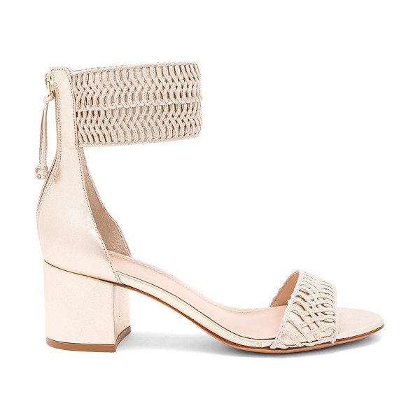 "Rachel Zoe Carrie Sandal in metallic gold - ""Woven textile and metallic leather upper with leather..."