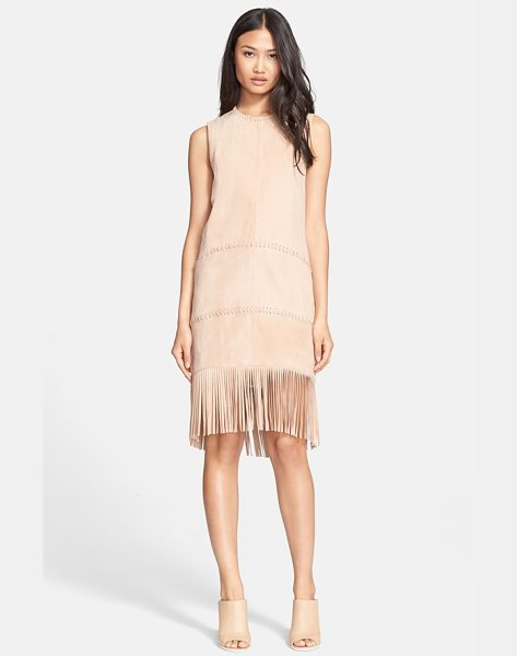 Rachel Zoe celia suede shift dress in warm tan - A fluttering fringe-ringed hem and precise whipstitched...